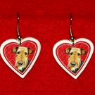 Airedale Terrier Dog Heart Earrings Jewelry Handmade