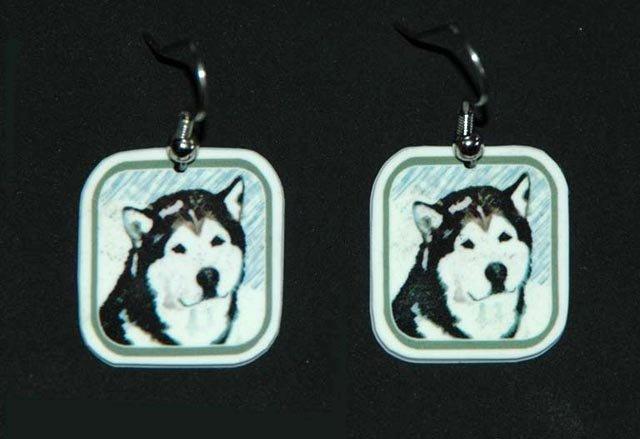 Alaskan Malamute Earrings Jewelry Handmade