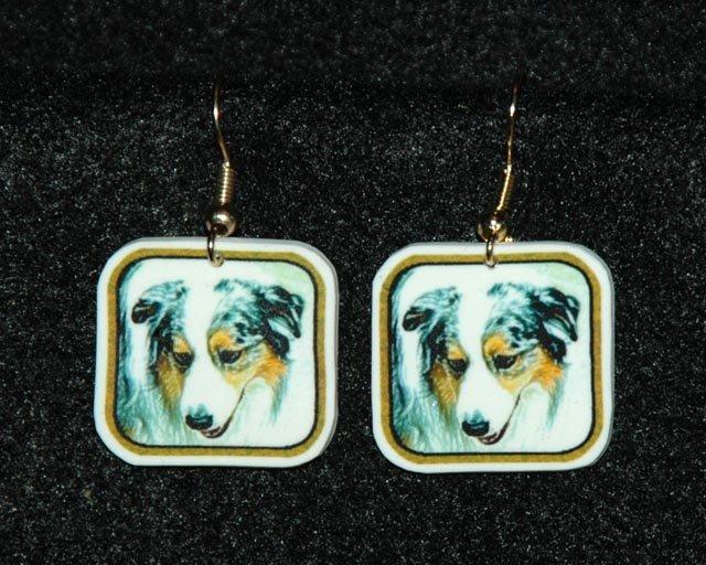 Australian Shepherd Dog Earrings Handmade
