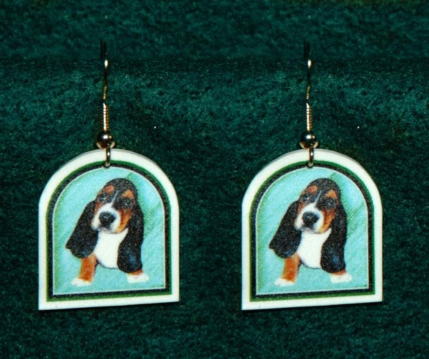 Basset Hound Puppy Dog Earrings Jewelry Handmade