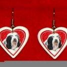 Bearded Collie Dog Heart Earrings Jewelry Handmade