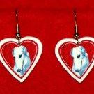 Borzoi Russian Wolfhound Dog Heart Earrings Jewelry
