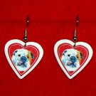 Bulldog Heart Valentine Jewelry Earrings Handmade