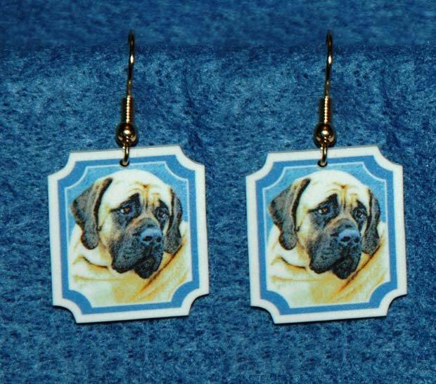 Bullmastiff Dog Heart Jewelry Earrings Handmade