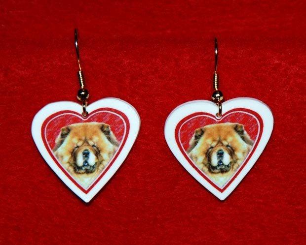 Chow Chow Dog Heart Valentine Earrings Jewelry Handmade
