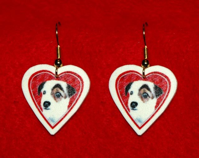 Jack Russell Terrier Dog Heart Valentine Jewelry Earrings Handmade