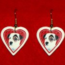 Jack Russell Terrier Dog Heart Valentine Jewelry Earrings Handmade