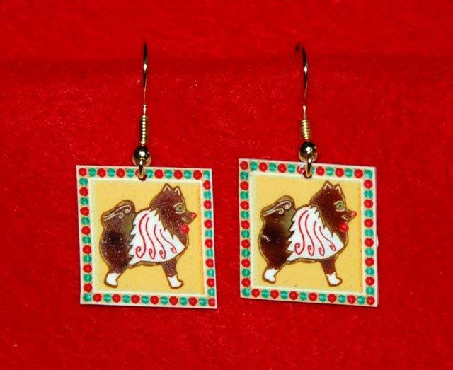 Keeshond Christmas Gingerbread Earrings Jewelry