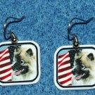 Keeshond Dog Earrings American US Flag