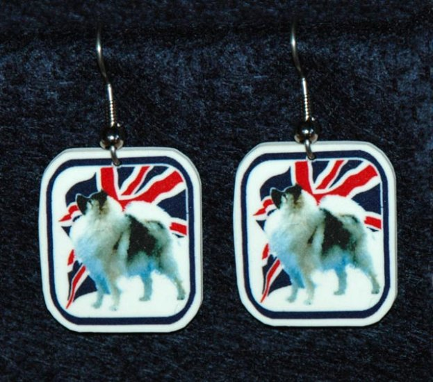 Keeshond Dog Earrings British Flag Union Jack