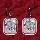 Keeshond Dog Heart Earrings Handmade Red