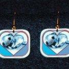 Keeshond Dog Sleeping Puppy in Heart Earrings Handmade