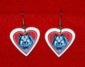 Keeshond Heart Valentine Earrings Jewelry