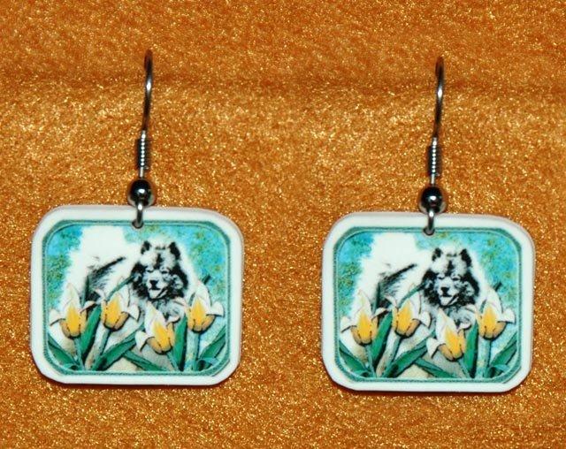Keeshond in Tulips Earrings Handmade