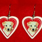 Lab Yellow Labrador Puppy Heart Valentine Earrings Handmade
