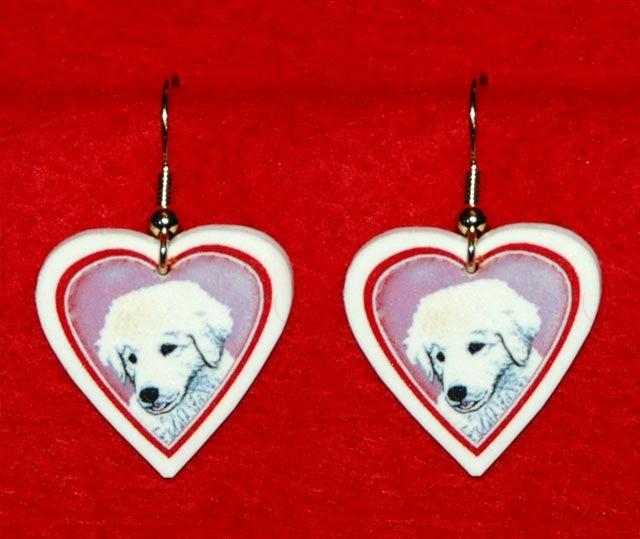 Kuvasz Puppy Dog Heart Earrings Jewelry Handmade