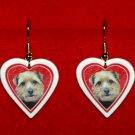 Norfolk Terrier Puppy Heart Valentine Earrings Jewelry