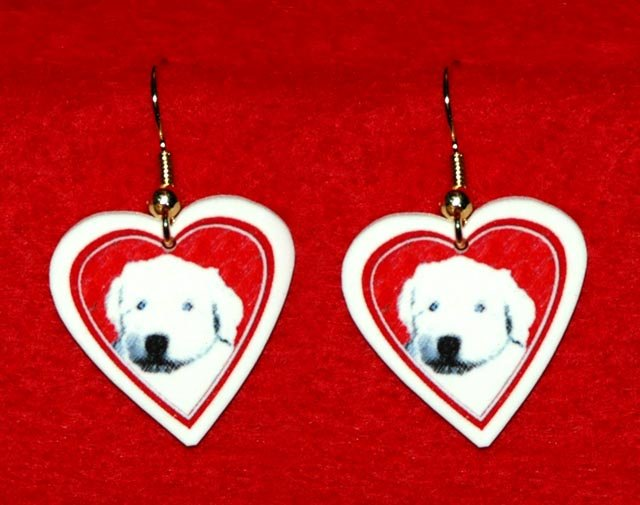 Old English Sheepdog Puppy Dog Heart Earrings Jewelry