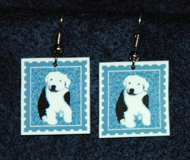 Old English Sheepdog Puppy Jewelry Earrings Handmade