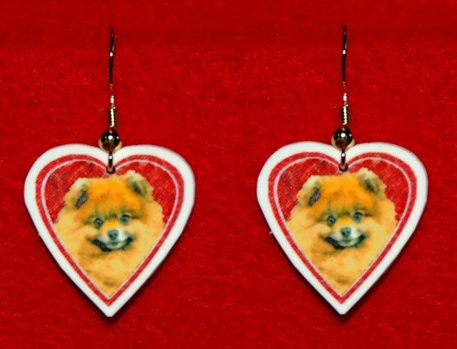 Pomeranian Pom Heart Valentine Day Earrings Jewelry