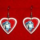 Saluki Dog Heart Valentine Jewelry Earrings Handmade
