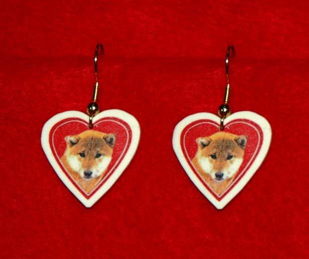 Shiba Inu Dog Heart Jewelry Earrings Handmade