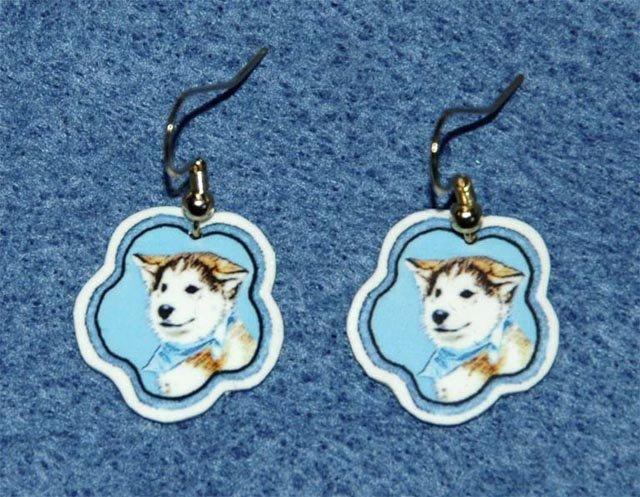 Siberian Husky Puppy Dog Earrings Jewelry Handmade