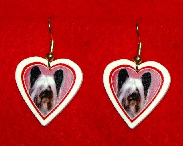 Skye Terrier Heart Valentine Earrings Jewelry Handmade