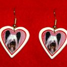 Skye Terrier Heart Valentine Earrings Jewelry Handmade