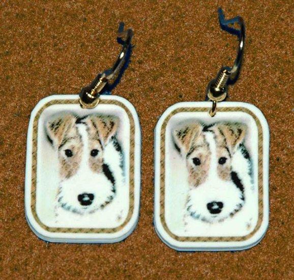 Wire Fox Terrier Wired Hair Dog Earrings Handmade