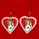 Wire Hair Fox Terrier Heart Valentine Earrings Jewelry