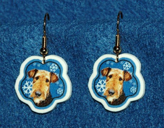 Airedale Terrier Jewelry Christmas Snowflake Earrings Handmade