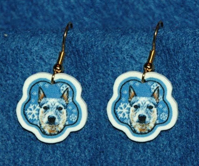 Australian Cattle Dog Jewelry Christmas Snowflake Earrings Handmade