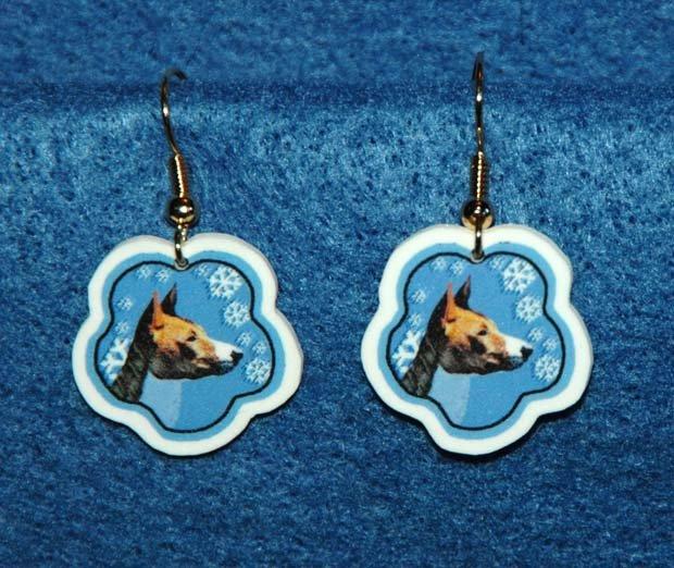 Basenji Basenjis Christmas Snowflake Earrings Handmade