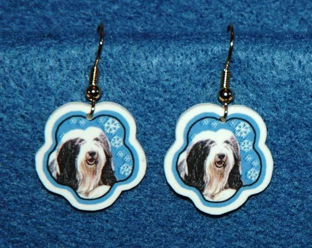 Bearded Collie Dog Christmas Snowflake Earrings Jewelry Handmade