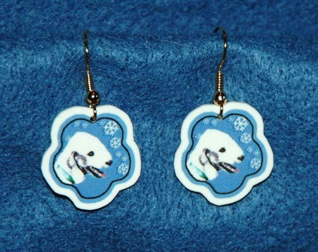 Bedlington Terrier Dog Jewelry Christmas Snowflake Earrings Handmade