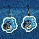 Bernese Mountain Dog Christmas Snowflake Earrings Handmade