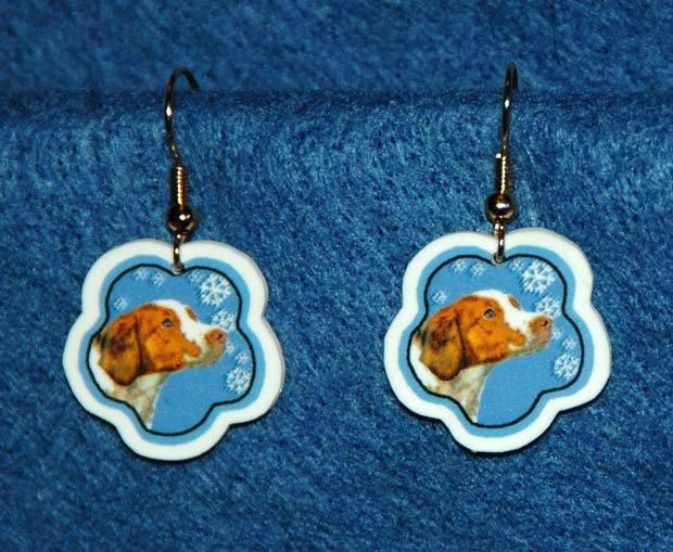 Brittany Spaniel Jewelry Christmas Snowflake Earrings Handmade