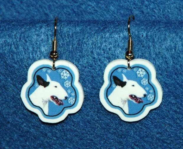 Bull Terrier Jewelry Christmas Snowflake Earrings Handmade