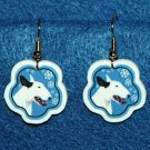 Bull Terrier Jewelry Christmas Snowflake Earrings Handmade