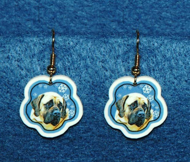 Bullmastiff Jewelry Christmas Snowflake Earrings Handmade