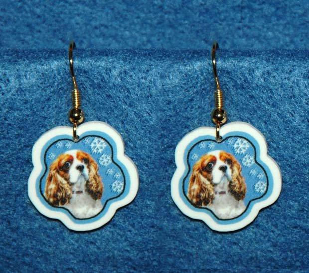 Cavalier King Charles Spaniel Jewelry Christmas Snowflake Earrings Handmade