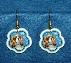 Cavalier King Charles Spaniel Jewelry Christmas Snowflake Earrings Handmade