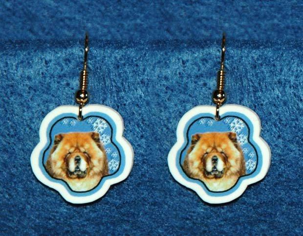 Chow Chow Dog Christmas Snowflake Earrings Jewelry Handmade