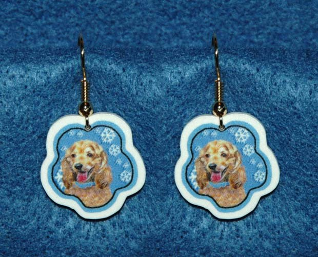 Cocker Spaniel Buff Jewelry Christmas Snowflake Earrings Handmade
