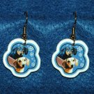 Dachshund Christmas Snowflake Earrings Jewelry Handmade