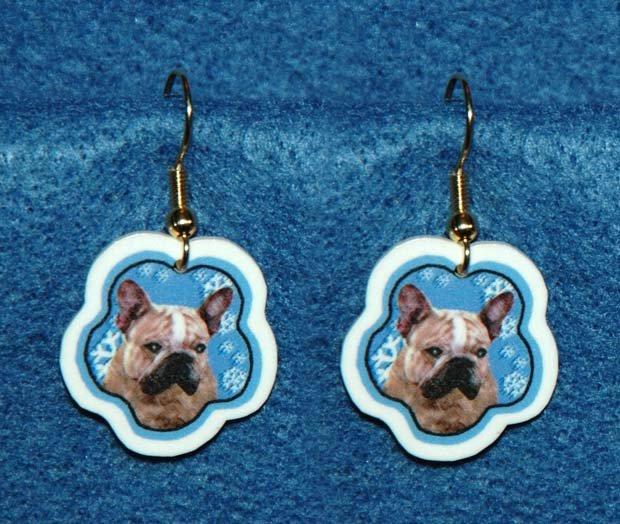French Bulldog Frenchie Dog Christmas Snowflake Earrings Handmade