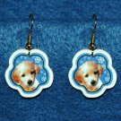 Golden Retriever Puppy Jewelry Christmas Snowflake Earrings Handmade