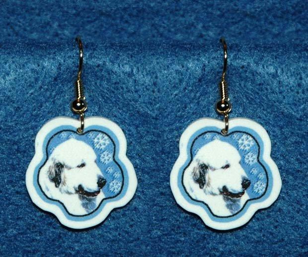 Great Pyrenees Dog Christmas Snowflake Earrings Handmade