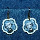Irish Wolfhound Puppy Dog Jewelry Christmas Snowflake Earrings Handmade